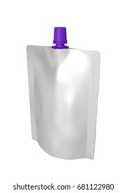 3D realistic render of white plastic package for children with purple small lid. With shadow and clipping path on a white background