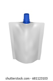 3D realistic render of white plastic package for children with blue small lid. With shadow and clipping path on a white background