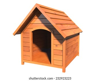 3D realistic render of a wooden doghouse, textured with pine wood, with walls of simulated tongue and groove, isolated over white background