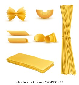 3d realistic set of dry macaroni in various shapes, pasta, lasagna, farfalle, spaghetti, rigatoni, penne isolated on background. Traditional italian cuisine, natural food rich in carbohydrates