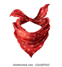 3d realistic silk red neck scarf. Fabric cloth of dotted neckerchief. Scarlet bandana, outerwear of western cowboy. Unisex accessory isolated on white background