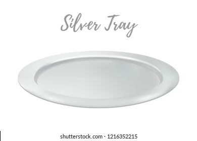 3d realistic silver tray - restaurant metallic salver. Shining chrome of tray, metallic grey platter. Kitchen flatware for food.