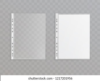 3d realistic translucent punched pocket isolated on transparent background. Office stationery for copies, portfolio - plastic wallet. Sheet protector for a4 paper. Template, mock up