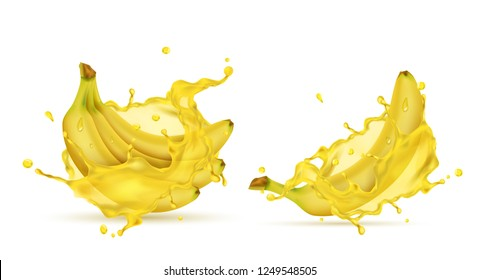 3d realistic tropical bananas in splashes of juice. Yellow exotic sweet fruit in fresh vitamin liquid for ad banner, poster, design element. Mock up, template of vegetarian nutrition