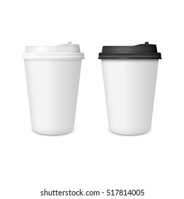 3D Realistic two paper Coffee Cup isolated on white background