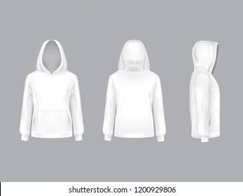 3d realistic white hoodie with long sleeves and pockets, casual unisex model, sportswear, sweatshirt with hood isolated on background. Mockup for clothes design, front, rear and side view