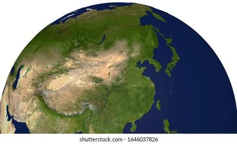 3D Realistic World Globe Asia Far East China South Korea Japan Illustration White Background