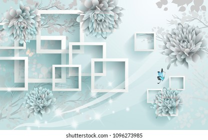 3D Rectangular abstraction background wallpaper.