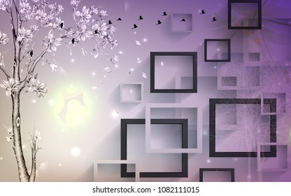 3D Rectangular abstractions background wallpaper.