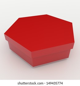 3d red bento boxes, sushi boxes set  packaging hexagon box and lids for blank template products in isolated background with clipping paths, work paths included