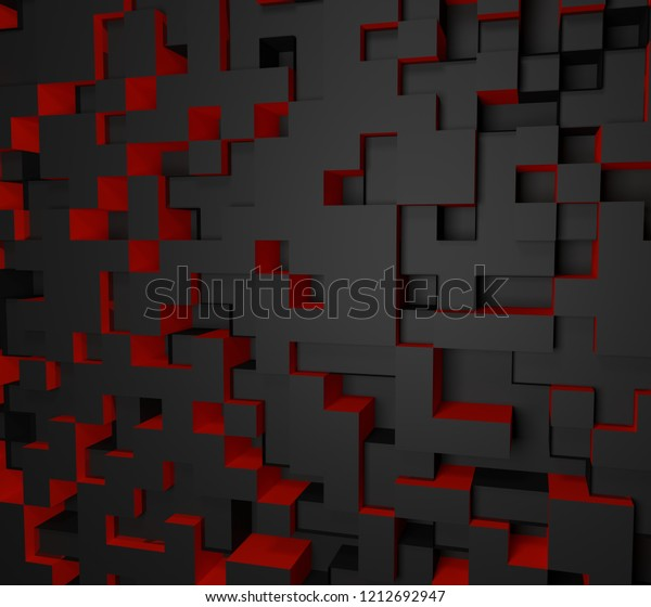 3d Red Black Abstract Cube Wallpaper Stock Illustration 1212692947