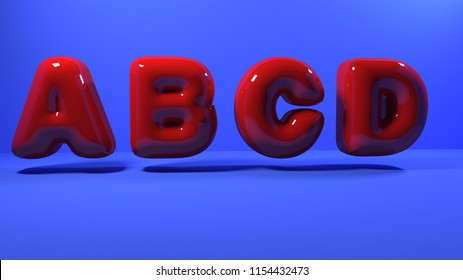 3d red bubble plastic on blue background.letters abcd