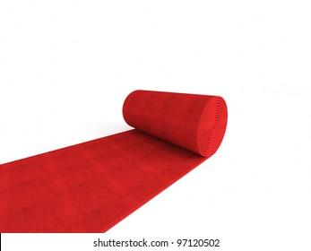 3d red carpet on white background