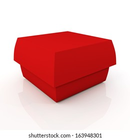 3d Red Carton Box Container Fast Food Snack French Fries Hamburger Blank Template