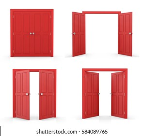 3d red double door on white background