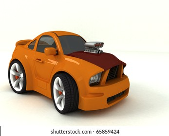 3d red fast car