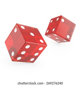 3d red glass dice isolated on white background.