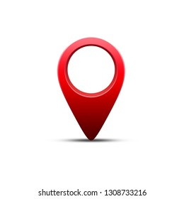 3d Red GPS pin isolated on white background