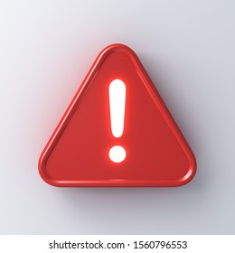 3d red hazard warning attention sign with neon light exclamation mark symbol icon isolated on white wall background with shadow 3D rendering