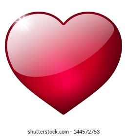 3d red heart button