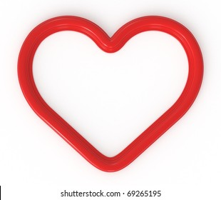 3d red heart shaped frame ready for your photos, graphics