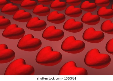 3D red hearts background