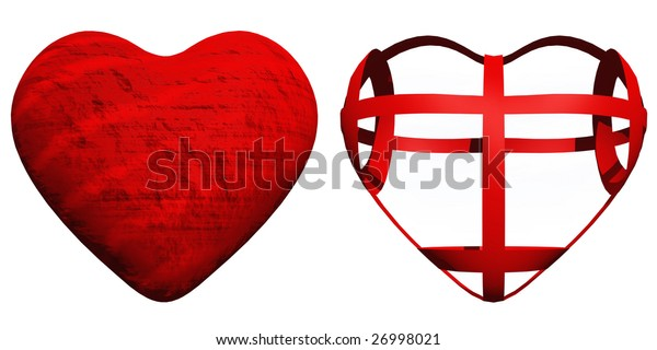 3D red hearts set or group isolated on white background, ideal for holiday, valentine, love, wedding or medical designs