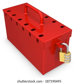 3d red locked box with golden padlock on white background