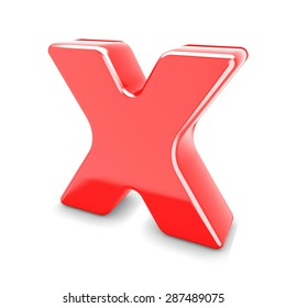 3d red metal letter X isolated white background