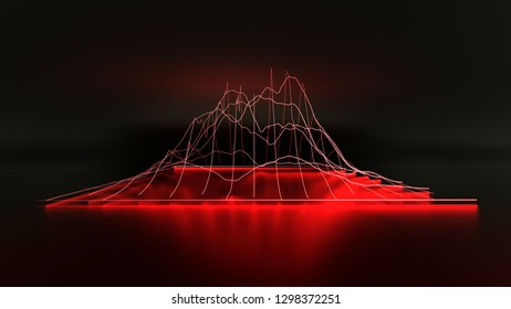 3D Red modern lined chart graph business on dark background. 3D renderings.