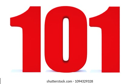 3d Red number 101 isolated on white background