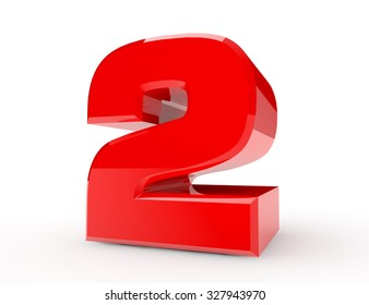 3d red number 2 on white background 3d rendering
