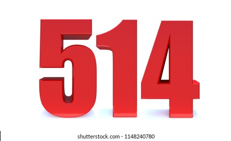 3d Red number 514 isolated on white background