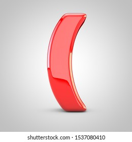 3D Red round brackets symbol Isolated White Background. Glossy font with studio lights reflections and shadow.