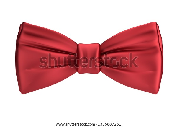 3d red silk bow tie. 3d image. Isolated white background.