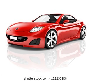 3D Red Sports Car