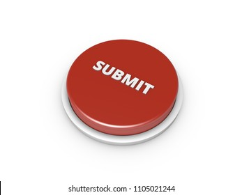 3D Red Submit Button. Rendering Illustration Isolated On White Background.