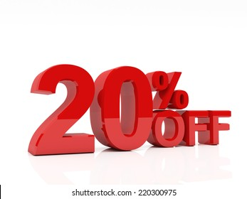 3d red text of discount sale on white
