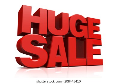 3D red text huge sale on white background with reflection