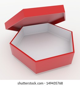 3d red and white bento boxes, sushi boxes set  packaging hexagon box and lids for blank template products in isolated background with clipping paths, work paths included