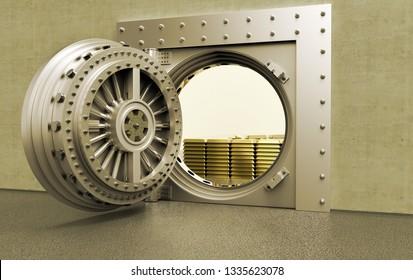 3D rednering of a bank Vault with gold bars inside