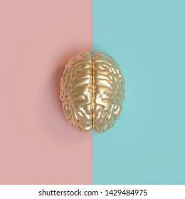 3d rednering image of a gold human brain, blue and pink background, concept of diversity between the sexes. flat lay style.