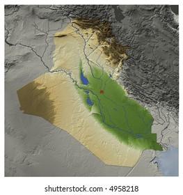 3 D Relief Map Iraq Seen Above Stock Illustration 4958218 - Shutterstock