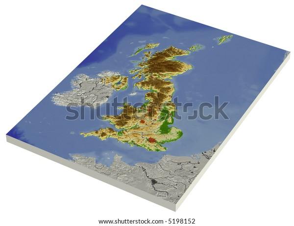 3d Terrain Map Of Uk.3d Relief Map United Kingdom Line Stock Illustration 5198152