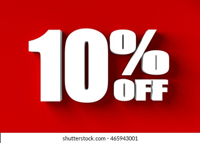 3d render of 10 percent off in red background