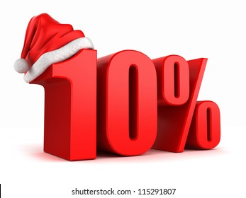 3d render of 10 percent with santa hat