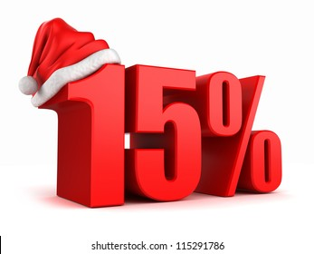 3d render of 15 percent with santa hat