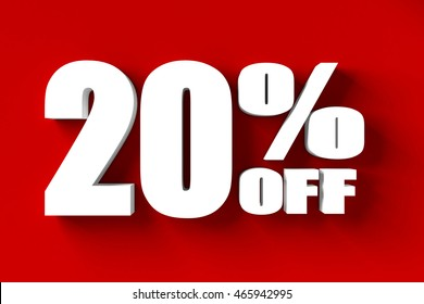 3d render of 20 percent off in red background