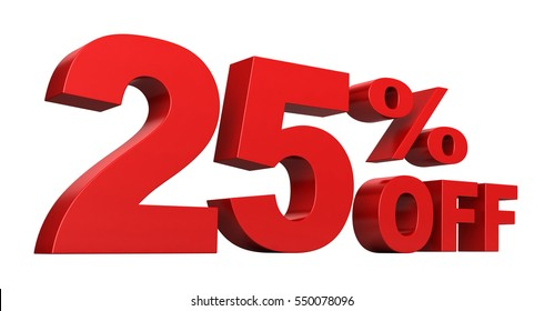 3d render of 25 percent off sale text isolated over white background