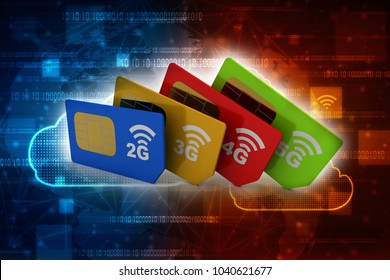 3d render 2G,3G,4G,5G SIM cards
